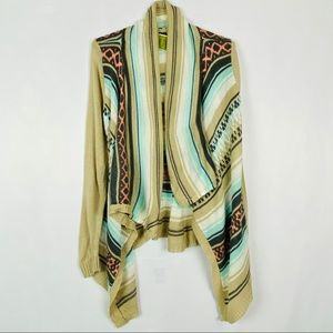Say What Cardigan M Sweater Open Front Aztec NEW